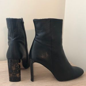 NWOT Leather Ankle Boots with Tortoise Shell Heel